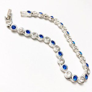 Vintage Avon Blue & Silver Tennis Bracelet